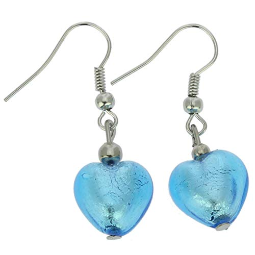 - GlassOfVenice Murano Glass Heart Earrings - Sky Blue