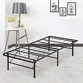 Bed Frame Platform Folding Bed Frame Twin Metal Base Mattress Foundation  Frame 14 Inch Portable Heavy Duty Replaces Box Spring With Black Steel