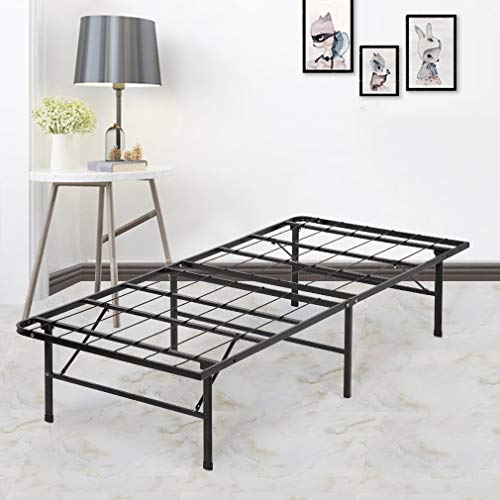 Bed Frame Platform Folding Bed Frame Twin Metal Base Mattress Foundation Frame 14 Inch Portable Heavy-Duty Replaces Box Spring with Black Steel