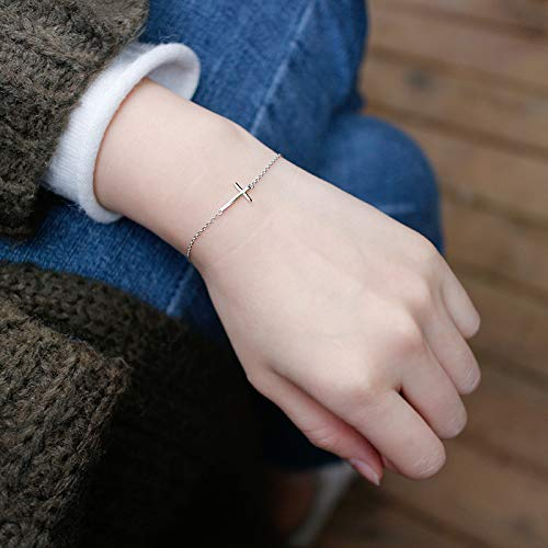 Your Always Charm Faith Cross Bracelet,Religious Meaningful Gifts for Best Friend (Silver)