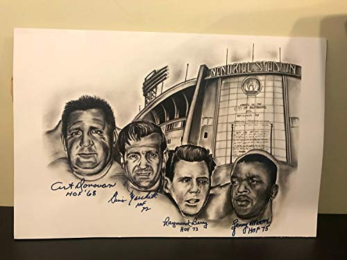 Art Donovan Raymond Berry Lenny Moore Marchetti Hand Autographed Signed 12X18 Photo - Certified Signature