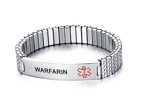 (Mealguet Jewelry WARFARIN- Unisex Stainless Steel Medical Alert ID Tag Stretch Wristband Bracelet/Deep Black engrave )