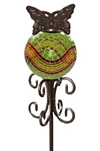 Your Heart's Delight Mosaic Ball with Butterfly Garden Stake, 36-1/2-Inch, Green/Orange