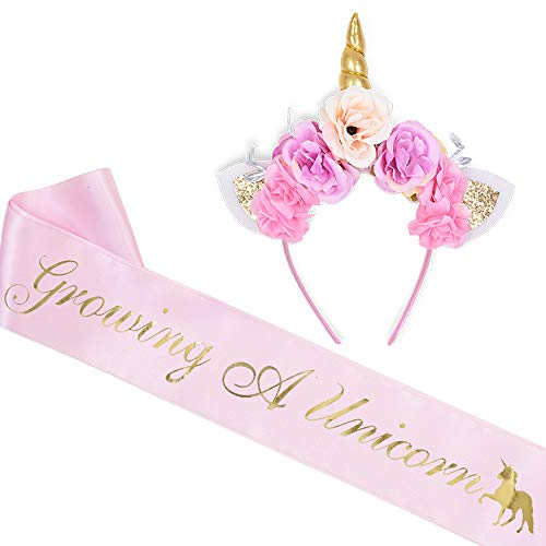 quotGrowing A Unicornquot Sash and Unicorn Flower Headband Kit  Baby Shower Gifts Welcome Baby Baby Sprinkle It#039s A Girl AccessoriesLight Pink