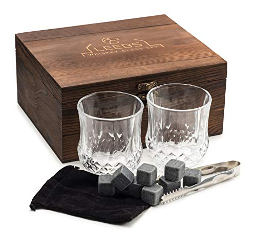 LEEBS Premium Whiskey Stones Gift Set - 2 Large Whiskey Glasses, 8 Granite Scotch Chilling Rocks, Tongs, Velvet Pouch in Elegant Wooden Gift Box Packaging