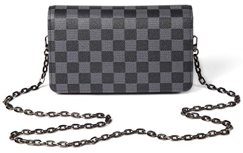 (Daisy Rose Checkered Cross body bag - RFID Blocking with Credit Card slots clutch -PU Vegan Leather (BLACK))