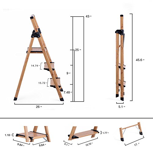Delxo Lightweight Aluminum Woodgrain 3 Step Ladder Folding Step Stool Stepladders Home and Kitchen Step Ladder Anti-Slip Sturdy and Wide Pedal Ladders 330lbs Capacity Space Saving (3 feet) by Delxo (Image #6)