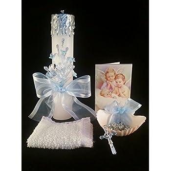 Baptism Its a Boy, Baby Blue Set, Hand Decorated. Vela para Bautizo de