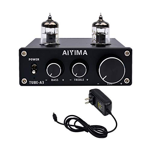AIYIMA Audio 6J1 Tube preamp HiFi Treble & Bass Adjustment Audio Tube Preamplifier DC12V Amplifier Preamp NE5532P Chips for Home Theater System(Tube-A3,Black)