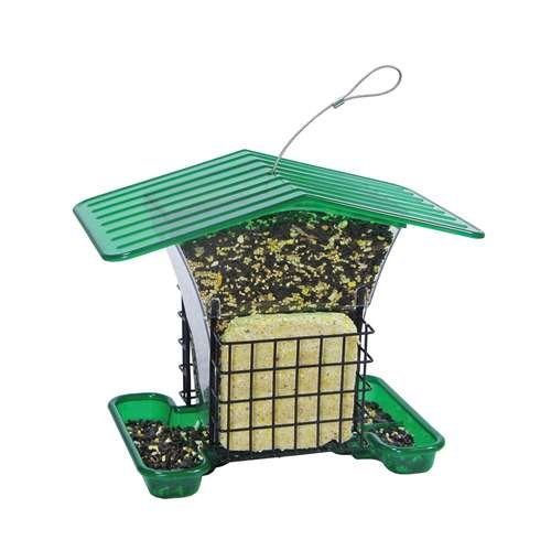Hiatt Hopper Bird Feeder with Suet Holders - Seed Suet Holder
