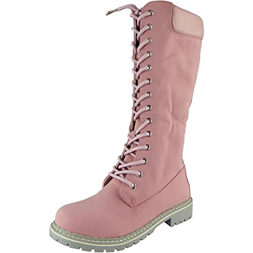 Loud Look Womens Lace Up Low Heel Combat Winter New Flat Mid Calf Boots Size 3-8 Pink PBkwlz3R