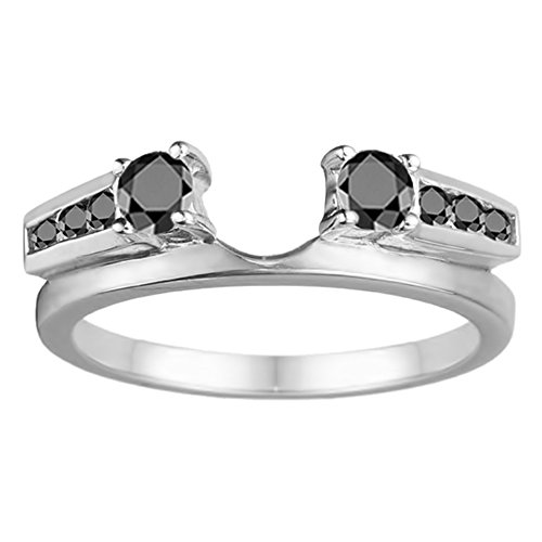 Black Diamonds Enhancer Ring Mounted In Sterling Silver(0.31Ct) Size 3 To 15 in 1/4 Size Interval ()
