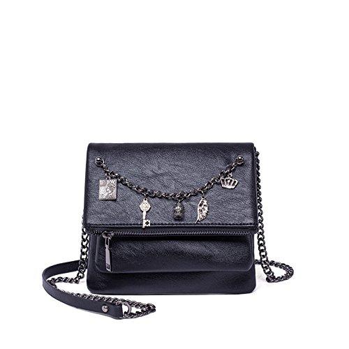 rétro Noir PU chaîne à Zip Messenger Strap décorative Shoulder Bag Loisirs Sac PU Simple bandoulière Od5qO