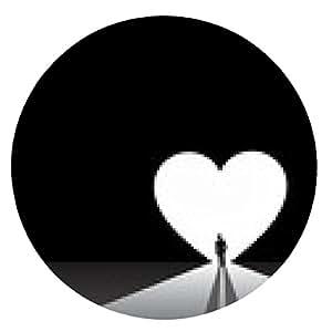 alfombrilla de ratón bien vestido hombre de pie silueta delante de la puerta grande del corazón del amor - ronda - 20cm