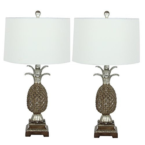 Urban Designs 28-inch Polystone Glass 2-Piece Table Lamp Set, Pineapple (Polystone Table)