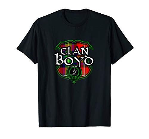 Boyd Surname Scottish Clan Tartan Shield Badge T-shirt