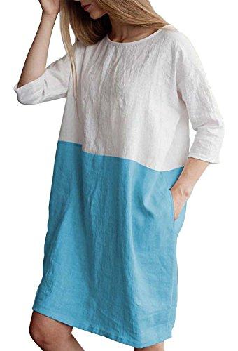 Minetom Mujer Vestidos Elegante Verano 3/4 Mangas Cuello Redondo Fiesta De Noche Atractivo Casual Moda Mini Dress T Shirt Dress Empalme Color Azul Claro