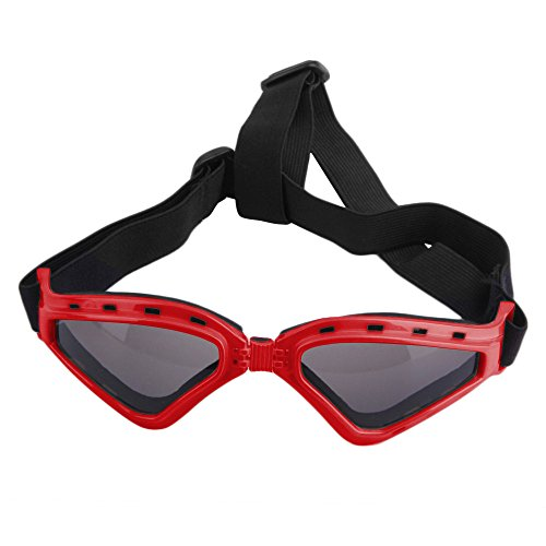 LUCKSTAR Cool Pet Sunglasses Animal Fashion Eye Protection UV Sunglasses New Fashionable Water-Proof Adjustable Elastic Back Strap Antifog Shatterproof Lenses For Pet Dogs Or Cats (Red) by AUTOFLY (Image #1)