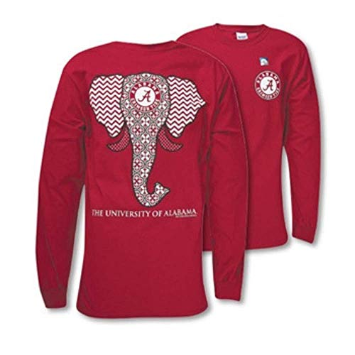 (Southern Couture SC Classic Alabama Crimson Tide Elephant on Long Sleeve Womens Classic Fit T-Shirt - Cardinal (Small) )