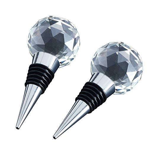 (JETKONG Metal Wine and Beverage Bottle Stopper Crystal Clear, Stainless Steel Wine Stopper for Favors, Wedding, Party, Home Decorative (Set of 2))