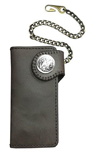 D'SHARK Chain Brown Billfold DSW5C Biker Men's Wallet Leather Dark Genuine with q7Sqrw