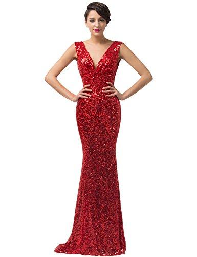 Grace Karin® Red Deep-V Neck Sequins Ball Gown Mermaid Evening Dresses CL6052 (16)