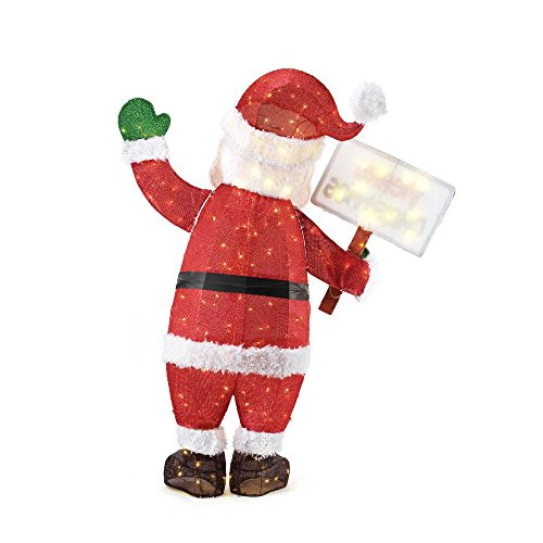 Home Accents Holiday 60IN 200L LED TINSEL SANTA WITH SIGN by Home Accents Holiday (Image #4)