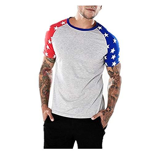 JSPOYOU American Flag Raglan Short Sleeve Personality Mens Casual Flag Slim T Shirt Top Blouse (US-L/CN-XL, Gray) (Shirt Raglan Tennis)
