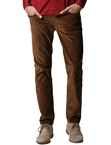 Match Men's Slim-Tapered Flat-Front Casual Pants (34W x 31L, 8052 Brown)