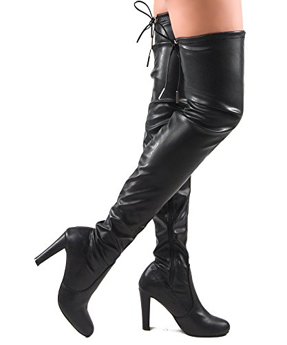 ROF Women Fashion Comfy Vegan Leatherette Block Heel Side Zipper Thigh High Over the Knee Boots BLACK PU (7)