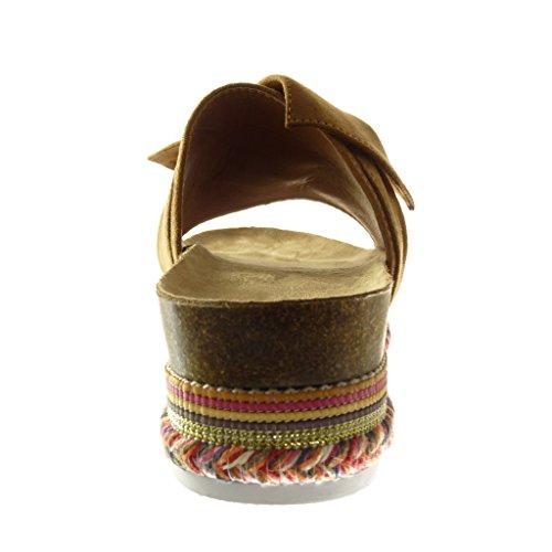 Angkorly - Scarpe da Moda sandali zeppe slip-on donna papillon intrecciato Tacco zeppa piattaforma 5 CM - Cammello