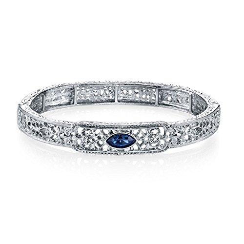 downton-abbeyr-silver-tone-blue-crystal-filigree-stretch-bangle-bracelet