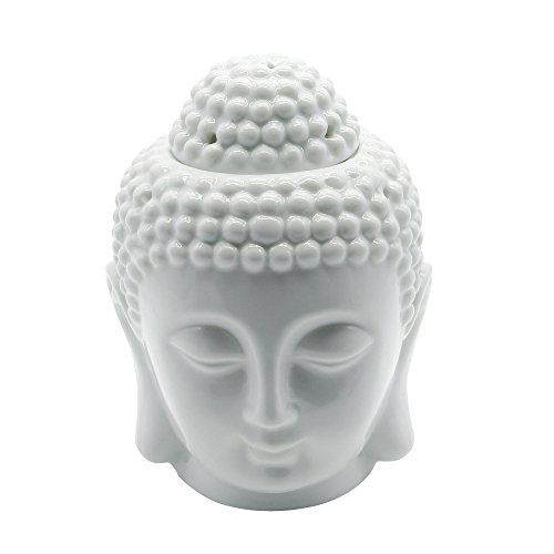 Statue Buddha Ceramic Head (Omonic Porcelain Zen Garden Yoga Meditation White Thai Buddha Head Statue Essential Oil Burner Aromatherapy Diffuser Home Decor (White))