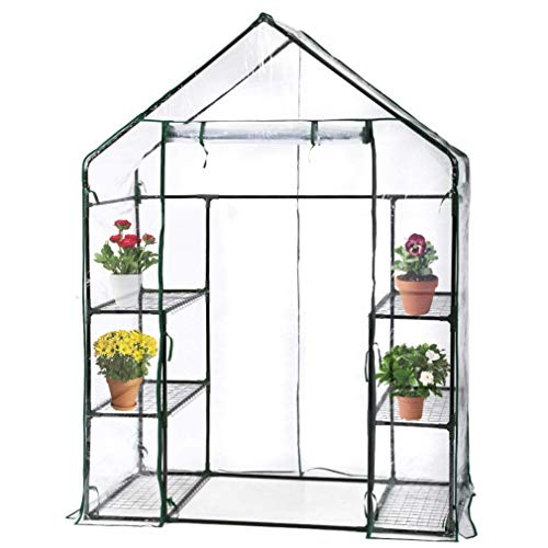 BMS PortableMini Indoor/Outdoor Greenhouse, Plant Shelves Tomato Herb Canopy Winter Walk-in Green House for Patio ()