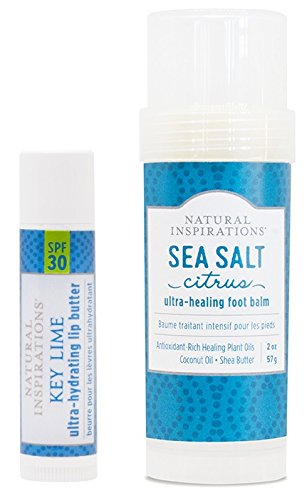 Natural Inspirations Foot Balm and Lip Butter Gift Set, Key Lime and Sea Salt Citrus