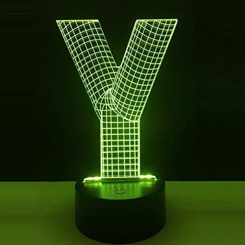 KUKULE 2019 Modern 3D Lamp Alphabet Letter Y RGB 7 Colors Flashlights Atmosphere Led Night Light USB Touch Home Decoration Kid Gift Lava