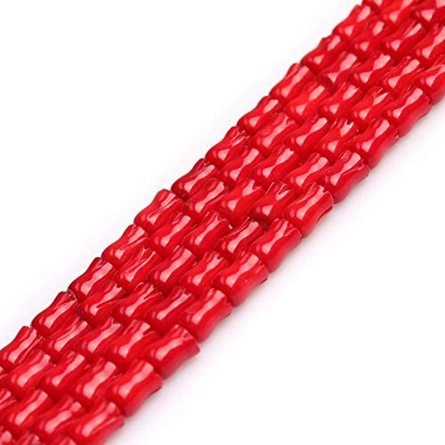 Red Coral Beads for Jewelry Making Semi Precious Gemstone 6x9mm Carved Tulip Flower Strand 15 Inch 42PCS