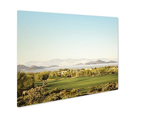 Ashley Giclee Scottsdale Phoenix Area Golf Course With Dramatic Unusual Low Lying Fog In, Wall Art Photo Print On Metal Panel, Color, 8x10, Floating Frame, AG4949911