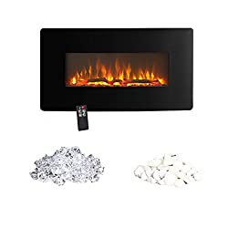 Innoflame E35c Wall Hanging Electric Fireplace Heater with Remote Control, 36 Inch Wide?1400W (Black) from Innoflame