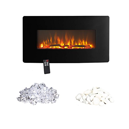 Innoflame E35c Wall Hanging Electric Fireplace Heater with Remote Control, 36 Inch Wide,1400W (Black)