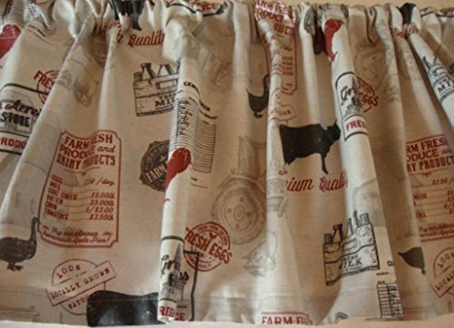 Valance Farmhouse Fabric Natural Black Red Custom Made Decorator Fabric -