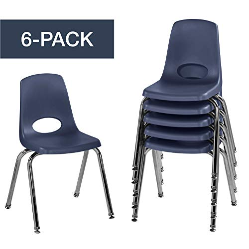 "Factory Direct Partners FDP 16"" School Stack Chair, Stacking Student Chairs with Chromed Steel Legs and Nylon Swivel Glides - Navy (6-Pack), 10368-NV"
