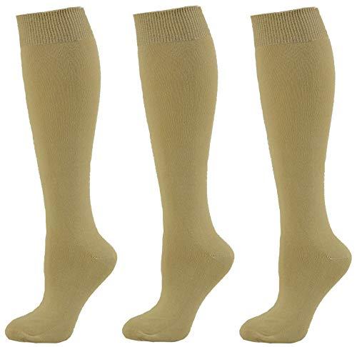 - Sierra Socks Girl's School Uniform Knee High 3 pair Pack Cotton Socks G7200 2321 (S/Shoe Size 9-1, Khaki)