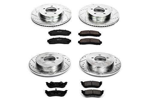 Power Stop K2722 Front & Rear Brake Kit with Drilled/Slotted Brake Rotors and Z23 Evolution Ceramic Brake Pads