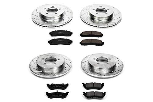 Power Stop K2722 Front & Rear Brake Kit with Drilled/Slotted Brake Rotors and Z23 Evolution Ceramic Brake Pads ()
