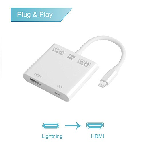 Onten Lightning to HDMI Adapter, 1080P 8 Pin Lightning to Hdmi Female Video Adapter, Digital AV Adapter for iPhone/iPad/IPod Models (white) by ONTEN