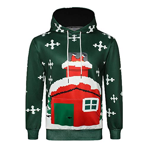 DaySeventh Men's Autumn Winter 3D Christmas Print Long Sleeve Hooded Sweatershirt Top -