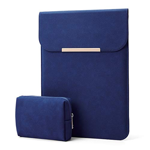 Kalidi Laptop Sleeve 13.3 inch for MacBook Air/13 inch MacBook Pro Retina 2017 2016,Faux Suede Leather (MacBook 13-13.5 inches, Navy Blue)