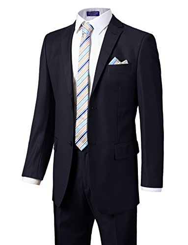 Tall Suit Coat (MONDAYSUIT Men's Modern Fit 2-Piece Suit Blazer Jacket Trousers Set Navy 64R)
