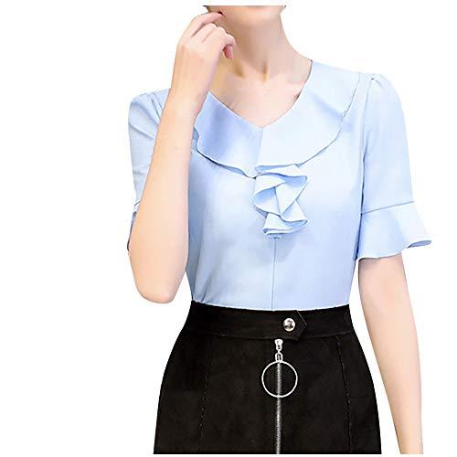 (Pervobs Women Cute & Sweet Shirts Summer Puff Half Sleeve Solid Ruffled Chiffon Workout Office Shirt Top Blouse Blusa(L, Z02-Blue))